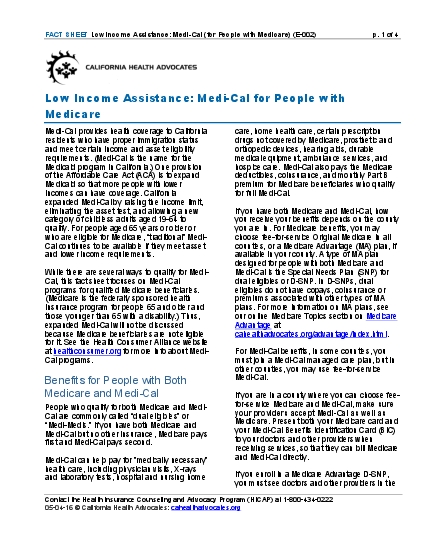 Cal for People with Medicare E002 p 1 of 4 Contact the Health Insuran
