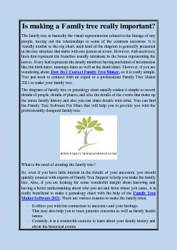 Is making a Family tree really important?