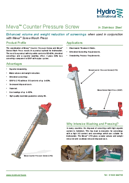 when used in conjunction Screw Wash Press
