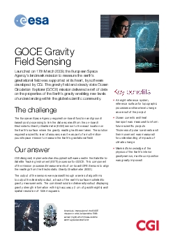 GOCE Gravity Field31SensingLaunched on 17th March 2009 the European Sp