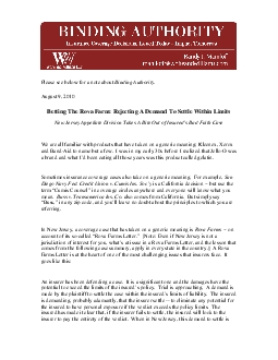 Binding AuthorityBetting The Rova Farm Rejecting A Demand To Settle Wi