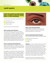 EYE FACTS eyelid spasms People who experience eyelid s