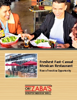 Freshest FastCasual  Mexican RestaurantNow a Franchise Opportunity