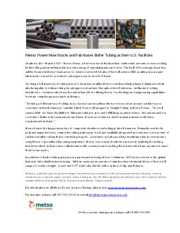 Metso Power Now Stocks and Fabricates Boiler Tubing at