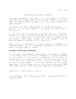 ADMISSION OF RESIDENT STUDENTS