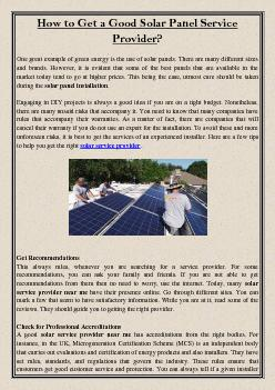 How to Get a Good Solar Panel Service Provider?