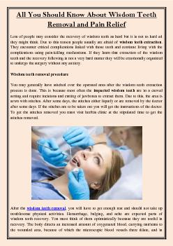 All You Should Know About Wisdom Teeth Removal and Pain Relief