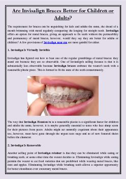 Are Invisalign Braces Better for Children or Adults?