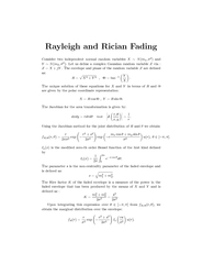 Ra yleigh and Rician ading Consider indep enden normal