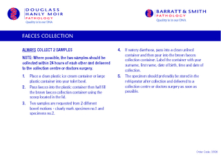Order Code  FAECES COLLECTION ALWAYS COLLECT  SAMPLES