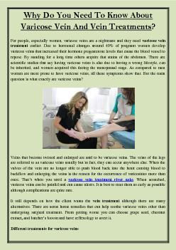 Why Do You Need To Know About Varicose Vein And Vein Treatments?