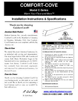 COMFORT COVE Model C Series Installation Instructions  Specifications WARNING Read Carefully These instructions are written to help prevent difficulties that might arise during installation of Comfort