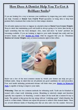 How Does A Dentist Help You To Get A Brilliant Smile?