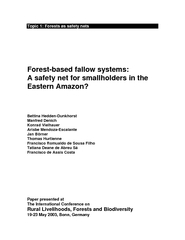 Topic  Forests as safety nets Forestbased fallow syste