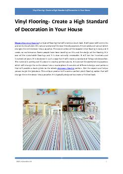Vinyl Flooring- Create a High Standard of Decoration in Your House