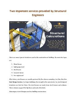 Two important services provided by Structural Engineers