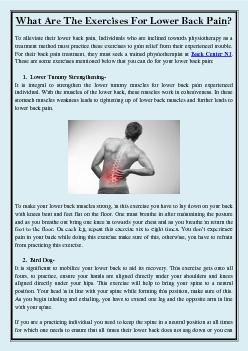 What Are The Exercises For Lower Back Pain?