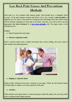 Low Back Pain: Causes And Preventions Methods