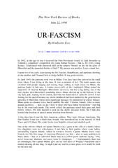 The New York Review of Books June   URFASCISM By Umber