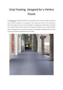 Vinyl Flooring- Designed for a Perfect House