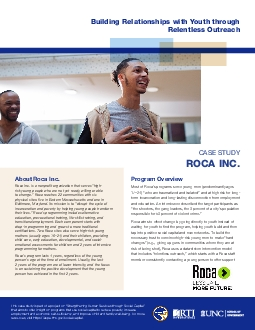 Roca Inc is a nonpro31t organization that serves 147highrisk young pe