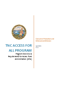 TNC ACCESS FOR ALL PROGRAMProgram Overview  Requirementsfor Access Fun