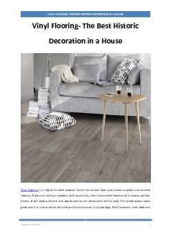 Vinyl Flooring- The Best Historic Decoration in a House