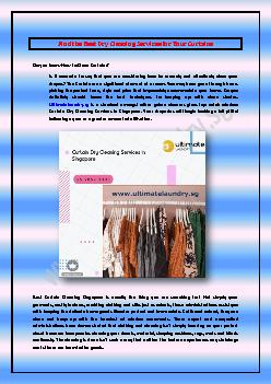 Find the Best Dry Cleaning Services for Your Curtains