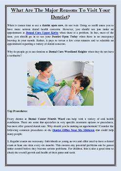What Are The Major Reasons To Visit Your Dentist?