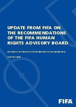 UPDATE FROM FIFA ON THE RECOMMENDATIONS OF THE FIFA HUMAN RIGHTS ADVIS