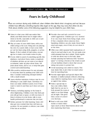 Fears in Early Childhood ears are common during early