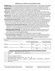 Federation of students A V authorization form