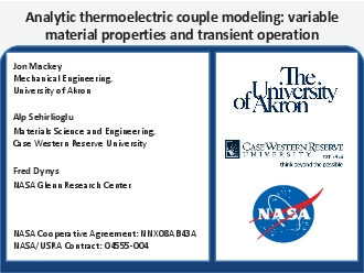 Analytic thermoelectric couple modeling variable material properties a