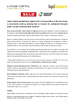 Latour Capital and Bpifrance support Sulo in its acquisition of San Sa