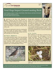 Feral hogs impact ground exsting birds