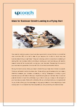 Ideas for Business Growth Leading to a Flying Start