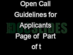 Open Call Guidelines for Applicants Page of  Part of t