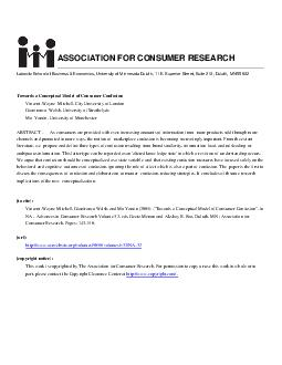 Advances in Consumer Research Volume    Towards a Conceptual Model of Consumer Confusion VincentWayne Mitchell City University of London Gianfranco Walsh University of Strathclyde Mo Yamin University