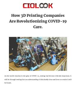 How 3D Printing Companies Are Revolutionizing COVID-19 Care