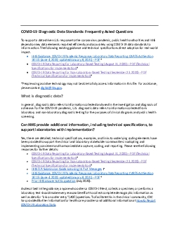 COVID19 DiagnosticData Standards Frequently Asked Questions