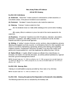 New Jersey Rules of EvidenceArticle VIII HearsayNJRE 801 Definitionsa