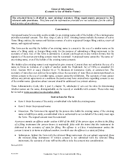 General Information Consent to Use of Similar Name The attached form i