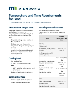 Temperature and Time Requirements for FoodCONTROLLING GROWTH OF FOODBO