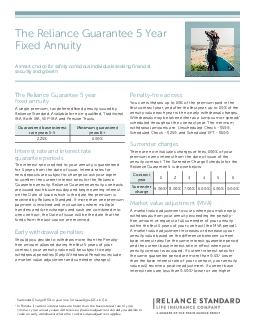 The Reliance Guarantee 5 Year Fixed Annuity