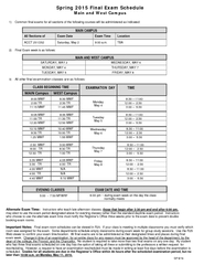 Spring  Final Exam Schedule Main and West Campus  Comm