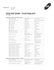 ONE SHOW  FILM FINALISTS BY CATEGORY THE ONE CLUB  FI