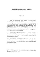 Absolute Finality of Arbitral Awards  by PIERRE LALIVE