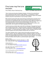 Fine tunes may fine tune the brain Press Release Natur