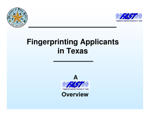 Fingerprinting Applicants in Texas Overview  Overview