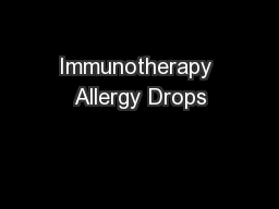 Immunotherapy Allergy Drops
